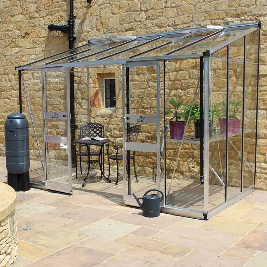 Eden Broadway 6 x 12 Plain Aluminium Lean To Greenhouse