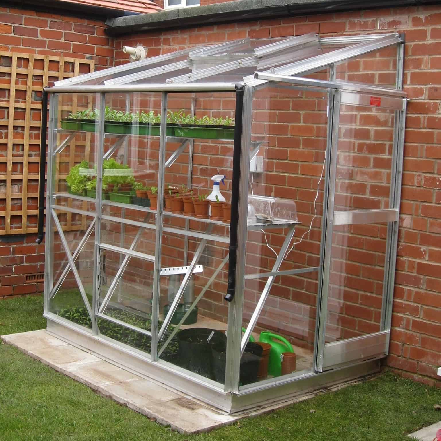 Elite Windsor 6 x 4 Plain Aluminium Lean To Greenhouse