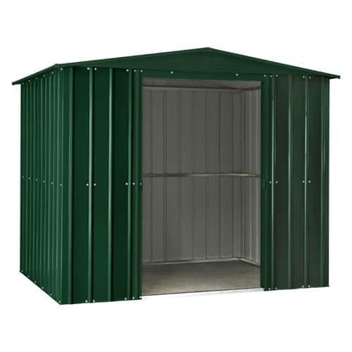 Lotus Apex 8 Green Metal Shed Doors Open
