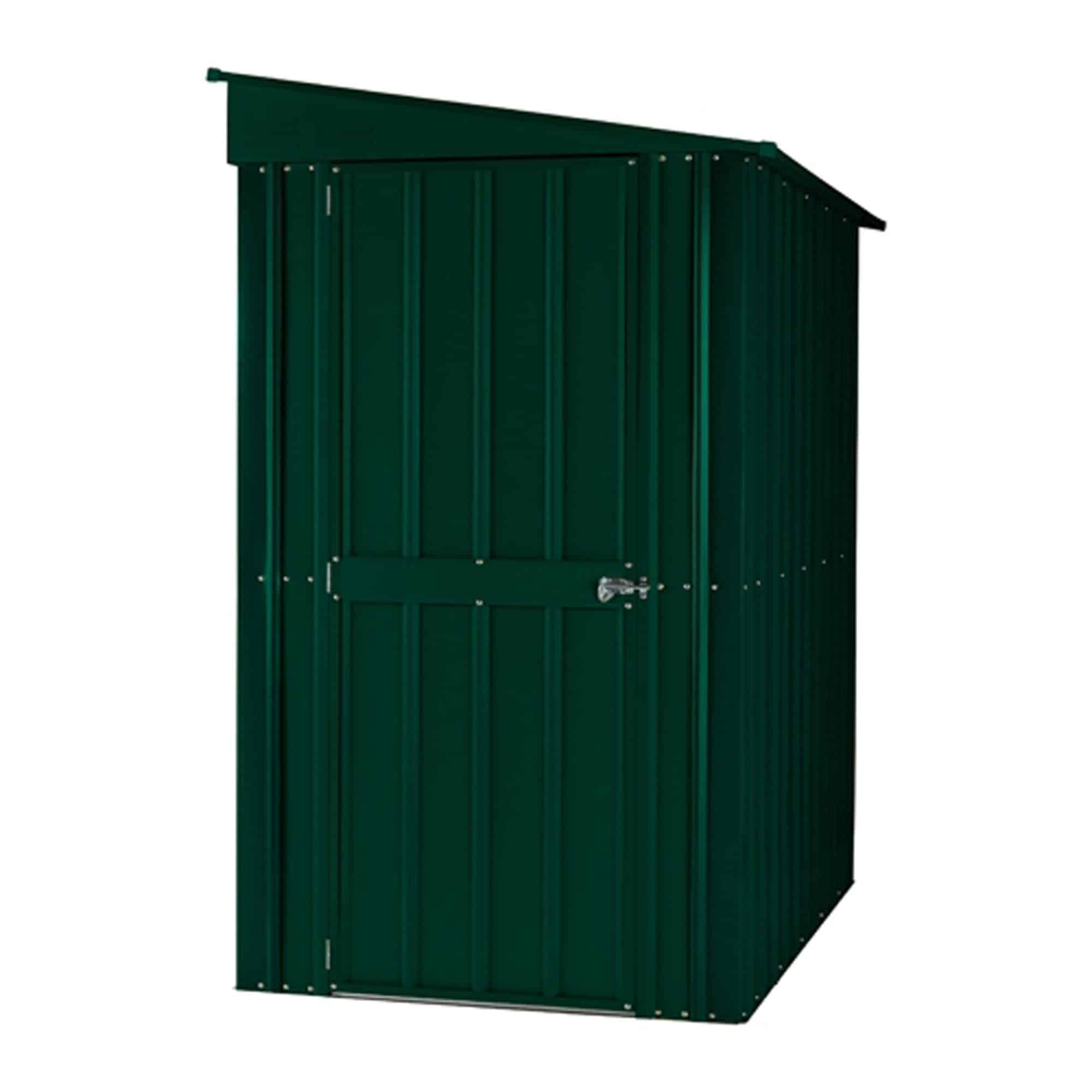 Lotus Lean to Solid Green Metal Shed