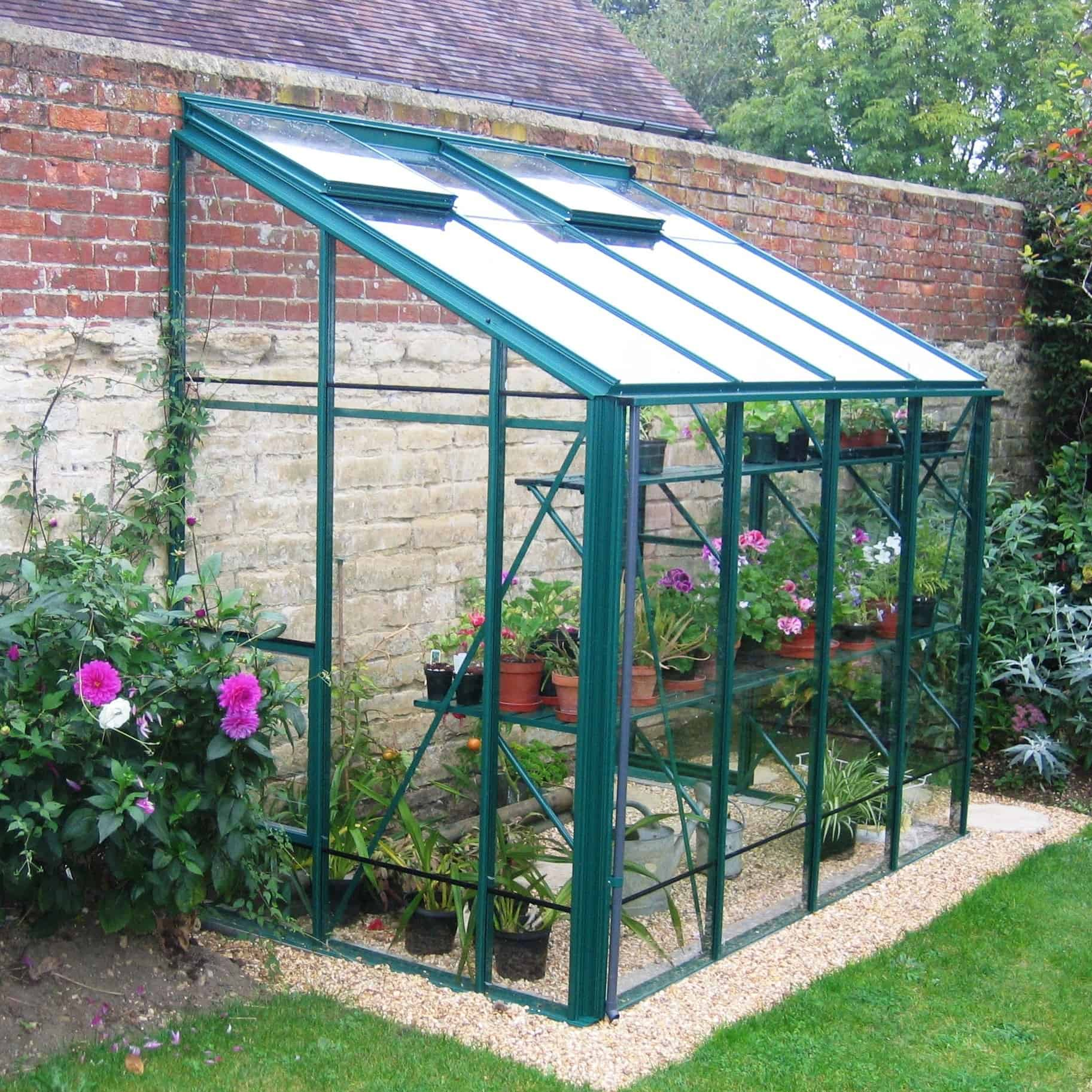 Robinsons Lean to 5 x 8 Green Aluminium Greenhouse