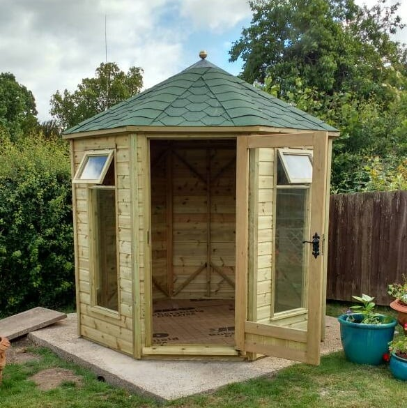 8×8 Phoenix Norton Octagonal Summerhouse Door Open