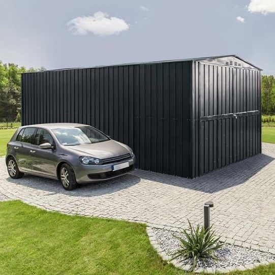 Lotus 10′ Wide Metal Garage Anthracite Grey