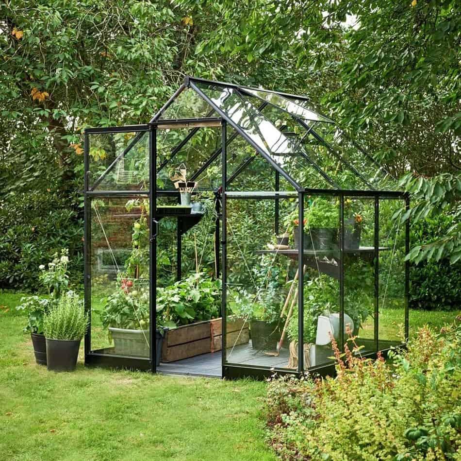 Halls Qube 6 x 6 Black Aluminium Greenhouse