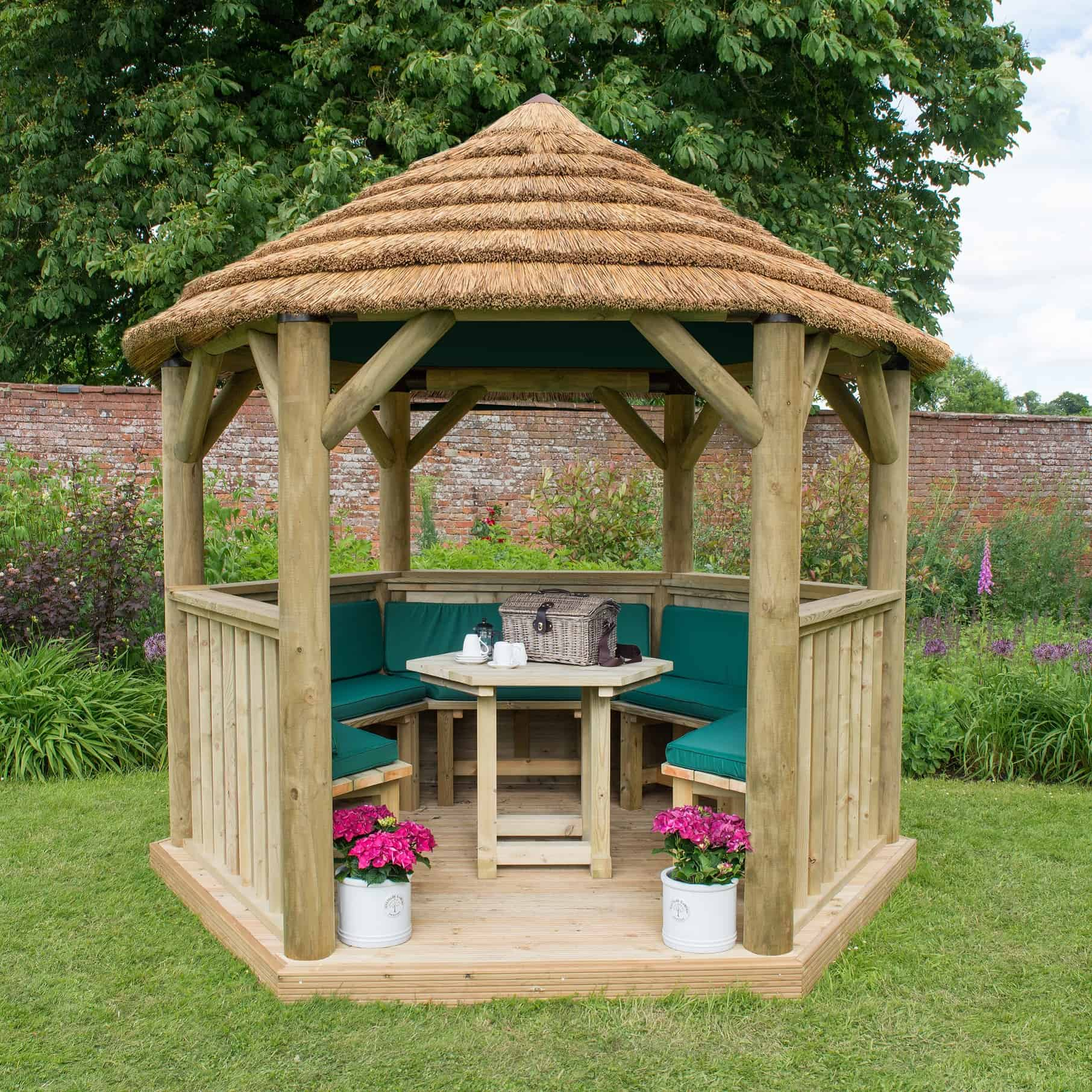 3m Forest Hexagonal Gazebo Thatched Roof